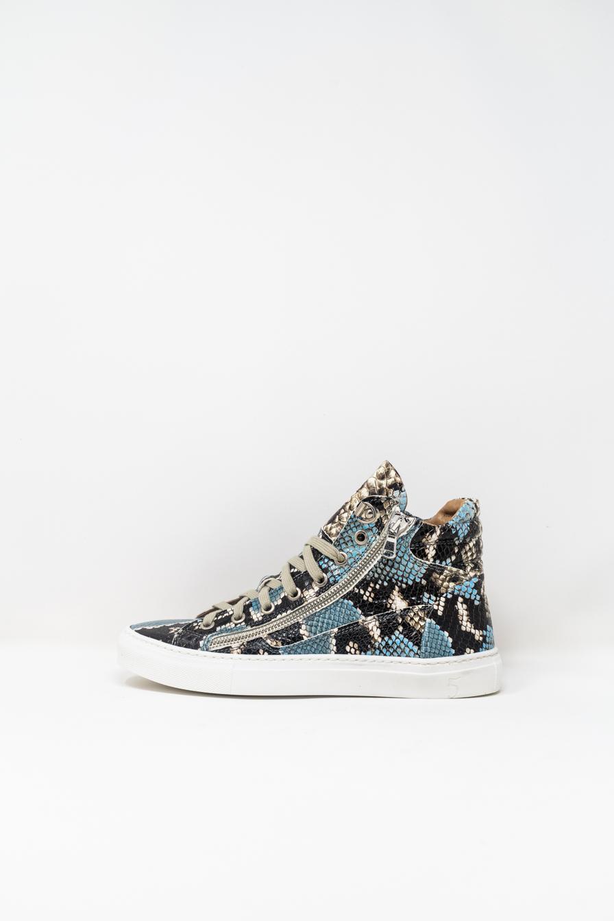 Sneakers Alte woman 5  FIVE  HANDMADE WD91, Pitonato Azzurro