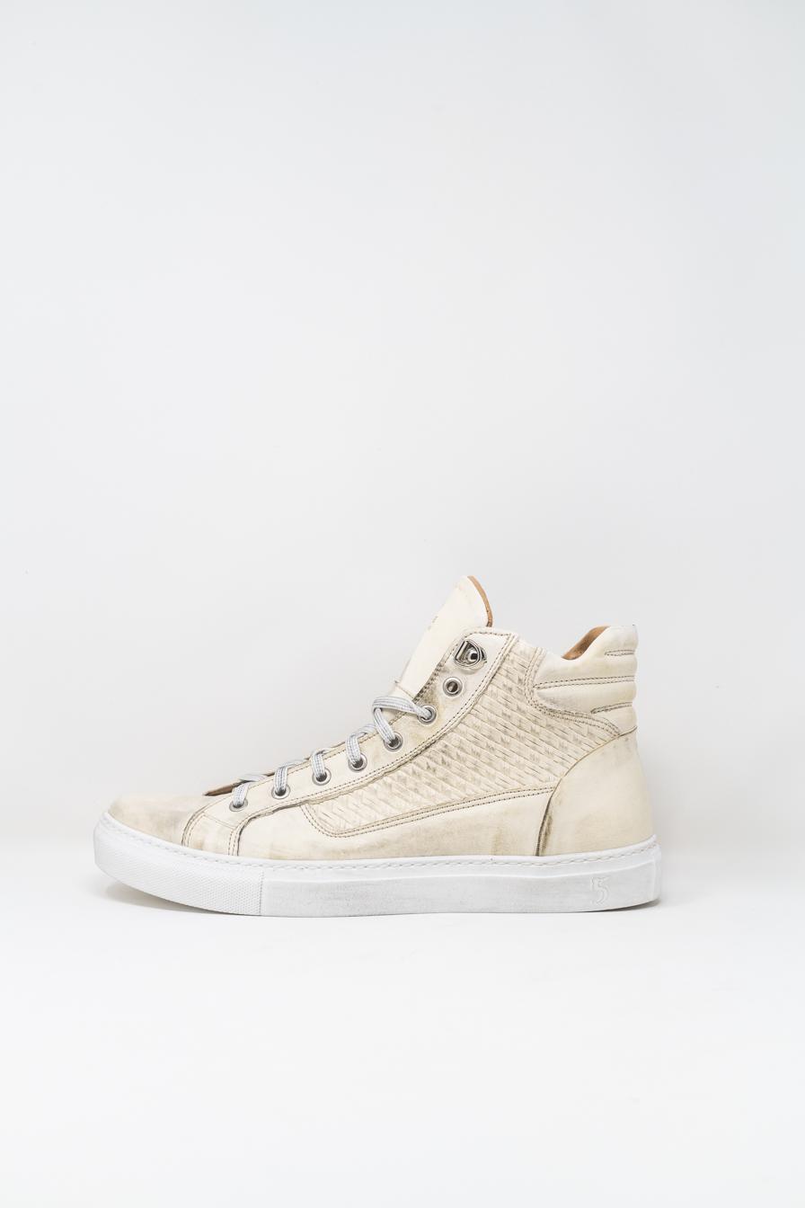 Sneakers Alte man 5  FIVE  HANDMADE WU911, Bianco Delavé