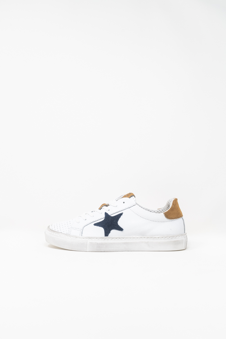 Sneakers woman PRICE? Star, WHITE/NAVY BLUE/TAN